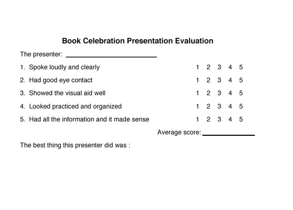 Presentation Evaluation Forms | Extension Project Presentation Evaluation Form