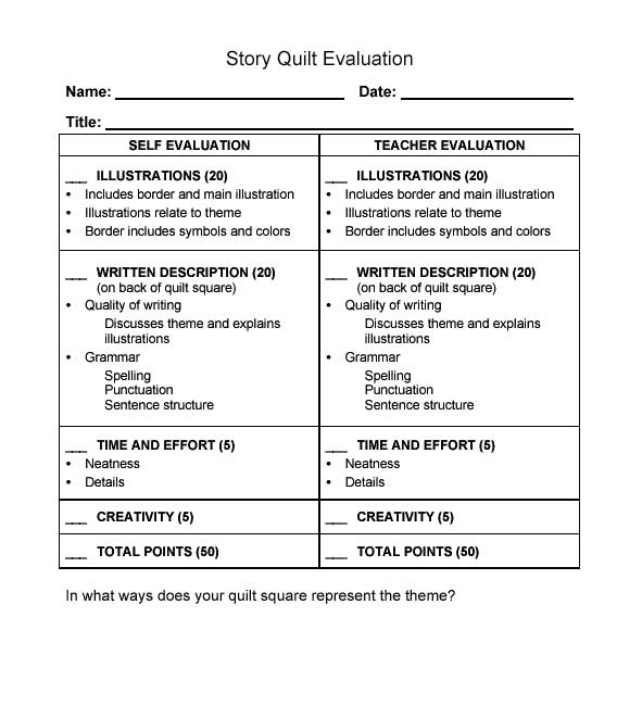 Story Quilt Evaluation Form